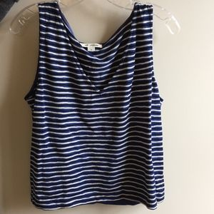 St. John Striped V-Neck Tank Top